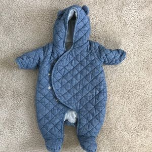 GAP Jackets & Coats - Baby Gap Denim snowsuit size 0-3 😇 so cute!